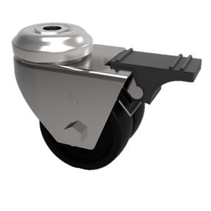 Polypropylene Bolt Hole Swivel Brake 50mm 60kg Load