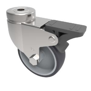 Grey Rubber Bolt Hole Swivel Brake 50mm 40kg Load