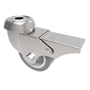 Rubber Bolt Hole Swivel Brake 50mm 40kg
