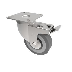 Grey Rubber Plate Swivel Brake 75mm 50kg Load