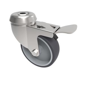 Grey Rubber Bolt Hole Swivel Brake 75mm 50kg Load