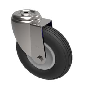 Pneumatic wheel Bolt Hole Swivel 200mm 75kg Load