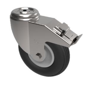 Puncture Proof Polyurethane Bolt Hole Swivel Brake 200mm 75kg