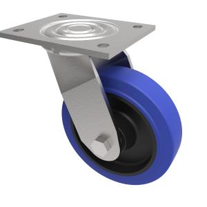 Blue Elastic Rubber  Plate Swivel 100mm 275kg Load