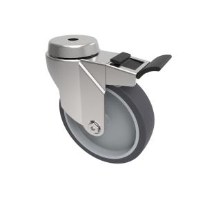 Grey Rubber Bolt Hole Swivel Brake 125mm 100kg Load