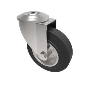 Black Rubber Pressed Steel Bolt Hole Swivel 125mm 90kg Load