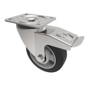 Elastic Speed Rubber on Aluminium Plate Swivel Brake 150mm 350kg Load