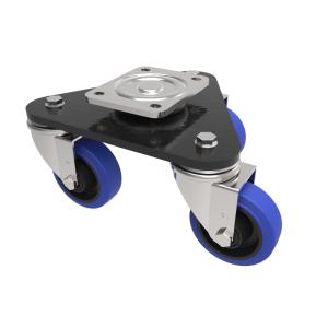 Skate Blue Elastic Rubber 65ShoreA Plate Swivel 100mm 450kg Load