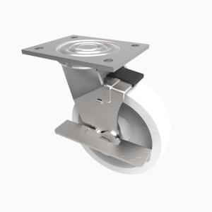 Nylon Plate Swivel Brake150mm 500kg Load