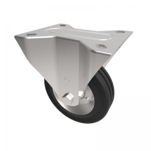Black Rubber Pressed Steel Plate Fixed 100mm 70kg Load