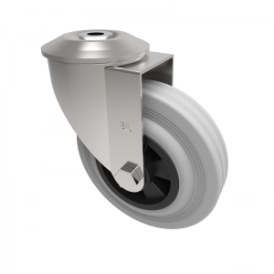 Grey Rubber Polypropylene Bolt Hole Swivel 125mm 90kg Load