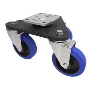 Skate Blue Elastic Rubber 65ShoreA Plate Swivel 125mm 450kg Load
