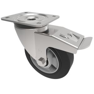 Elastic Speed Rubber on Aluminium Plate Swivel Brake 160mm 400kg Load