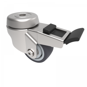 Grey Rubber Bolt Hole Swivel Brake 50mm 50kg Load