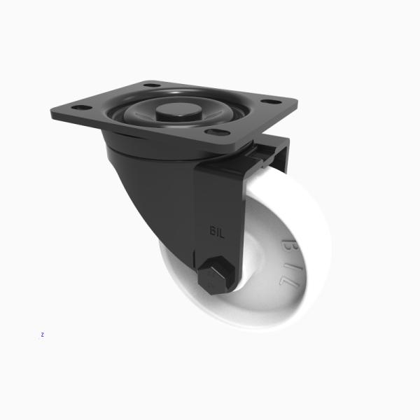 Black Elastic Rubber 65ShoreA Plate Swivel  100mm 200kg Load