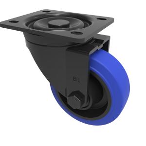 Blue Elastic Rubber 65ShoreA Plate Swivel 100mm 200kg Load