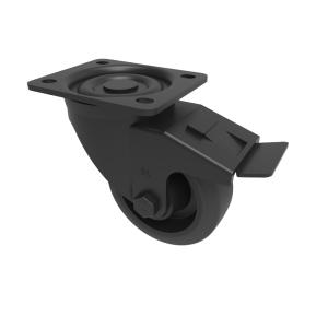 Black Elastic Rubber 65ShoreA Plate Swivel Brake 80mm 150kg Load