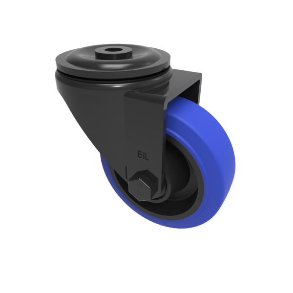 Blue Elastic Rubber 65ShoreA Bolthole Swivel 80mm 150kg Load