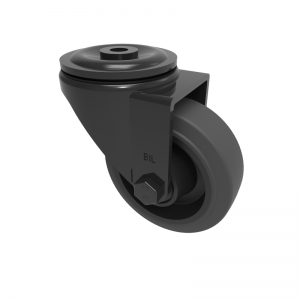 Black Elastic Rubber 65ShoreA Bolthole Swivel 80mm 150kg Load