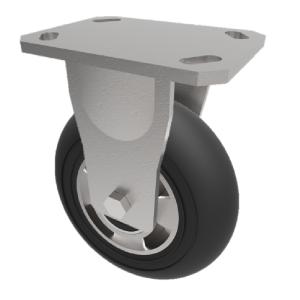 Black Soft Elastic Rubber on Aluminium Plate Swivel 150mm 270kg Load