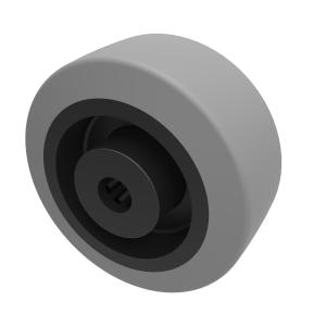Grey Elastic Rubber 65shore A 80mm Roller Bearing 150kg Load