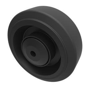 Black Elastic Rubber 65ShoreA 100mm Roller Bearing 200kg Load