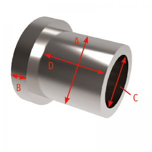 Headed Spacer 10mm bearing x 3mm thick head x 8mm axle bolt