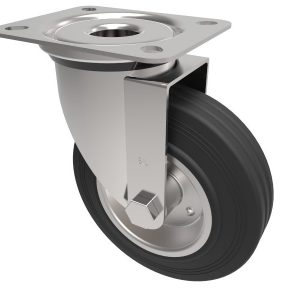 Black Rubber Steel Plate Swivel 100mm 70kg Load