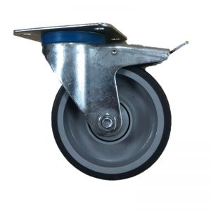 Rubber Plate swivel braked 125mm 90kg Load