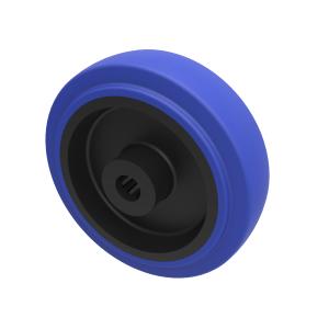 Blue Elastic Rubber 75ShoreA 100mm Roller Bearing 200kg Load