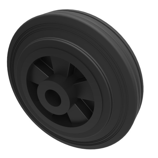 Black Rubber 200mm Plain Bearing 205kg Load