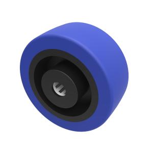 Blue Elastic Rubber 75ShoreA 80mm Roller Bearing 120kg Load