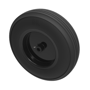 Black Rubber Pressed Steel 350mm Roller Bearing 300kg Load