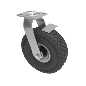 Puncture Proof Polyurethane Plate Swivel Brake 260mm 150kg Load