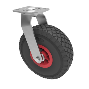 Puncture Proof Polyurethane Plate Swivel 260mm 120kg Load