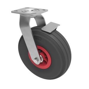 Puncture Proof Polyurethane Plate Swivel Brake 260mm 120kg Load