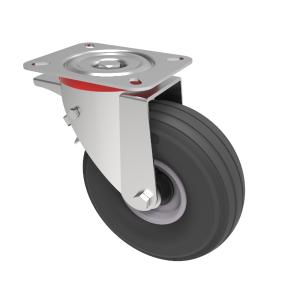 Puncture Proof Polyurethane Plate Swivel Brake 200mm 75kg Load